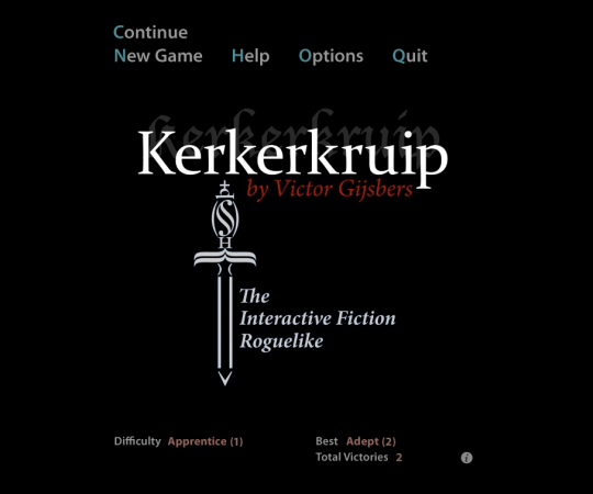 Kerkerkruip's title screen, with main menu fading in behind it.